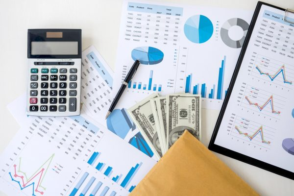 Business accessories in selective focus, Items for accounting, Marketing strategy, investment and saving, accounting and stock market