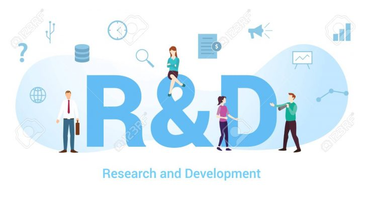 r&d research and development concept with big word or text and team people with modern flat style - vector